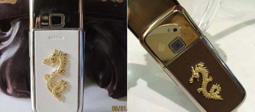 Nokia 8800 Gold Arte với rồng vàng được gắn ở lớp da phía sau thân máy